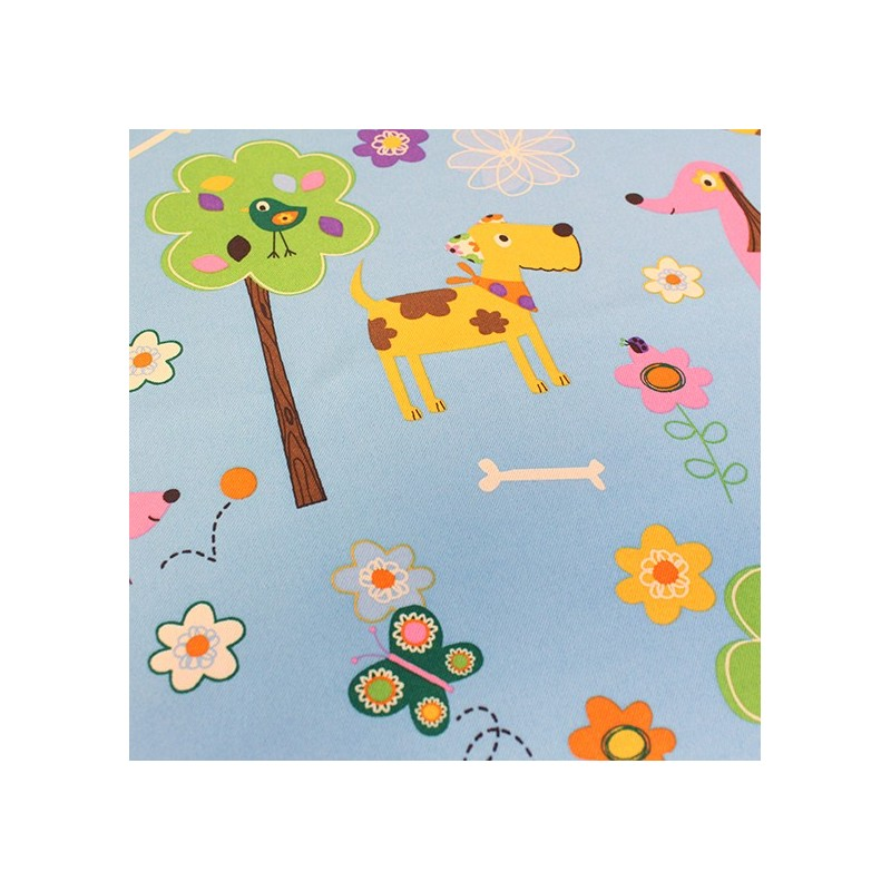 tissus pour rideaux tissu rideau occultant happy doggy bleu. Black Bedroom Furniture Sets. Home Design Ideas