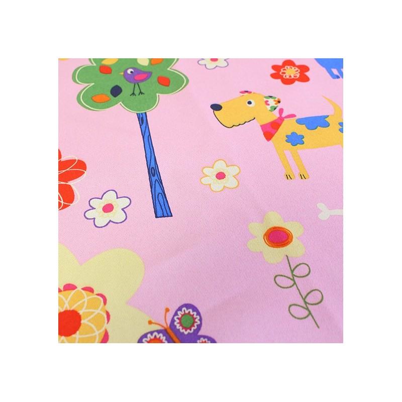 tissus pour rideaux tissu rideau occultant happy doggy rose. Black Bedroom Furniture Sets. Home Design Ideas