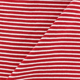 Tissu jersey tubulaire bord-côte 1/2 rayures rouge x 10cm