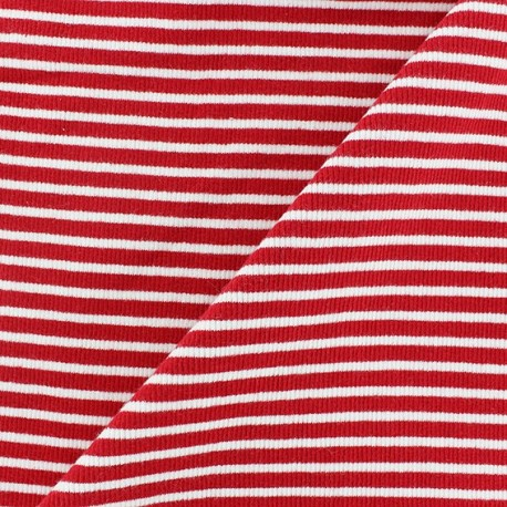Knitted Jersey 1/2 tubular edging fabric x 10 cm - red stripes