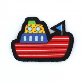 Boat with thick edges iron-on applique - red/blue