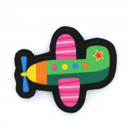 Plane with thick edges iron-on applique - multicolored