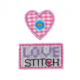 Label D sew-on applique - pink/purple