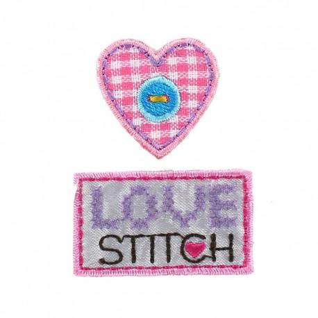 Label D sew-on applique - pink/purple