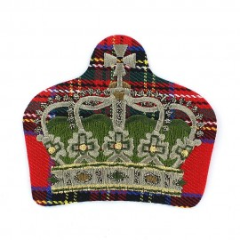 Royal F coat-of-arms iron-on applique - golden/red