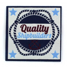 "Vintage ""Quality Shipbuilders"" iron-on applique - blue"