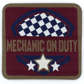 "Vintage ""Mechanic on duty"" iron-on applique - carmine red"
