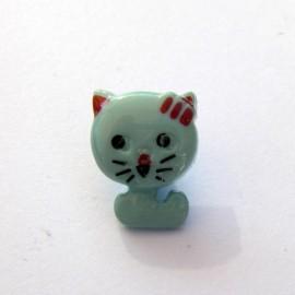 Cat-shaped button - blue