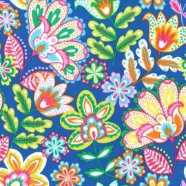 Tissu Esme fond bleu roy x 10cm