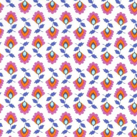 Tissu Elena fond blanc x 10cm