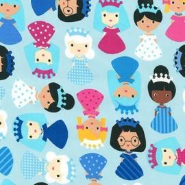 Tissu Girld friend fond bleu clair x 10cm