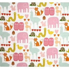 Tissu I ♡ animals Multi rose x 20cm