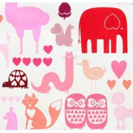 Tissu I ♡ animals Multi rouge x 20cm