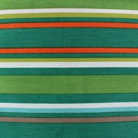 Tissu coton Rayures multi teintes Vert  x 10 cm