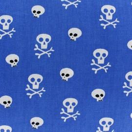 Tissu coton Mini skull fond bleu roy x 10cm