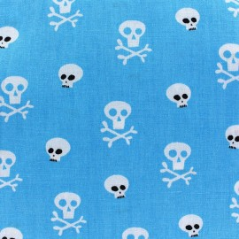 Tissu coton Mini skull fond turquoise  x 10cm