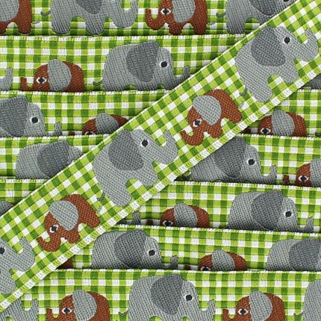Woven gingham Ribbon, Elephant - Green