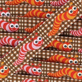 Woven gingham Ribbon, Caterpillar - brown