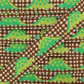 Woven gingham Ribbon, Dinosaur - brown