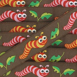 Woven Ribbon, Caterpillar - brown