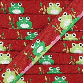Woven Ribbon, frogs - burgundy