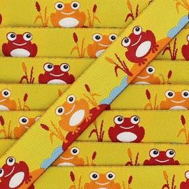 Ruban grenouilles fond jaune