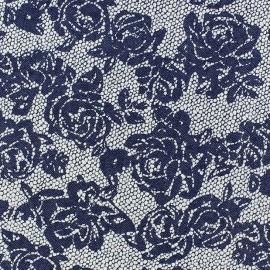 Tissu Jeans à fleurs ajourés x 10cm