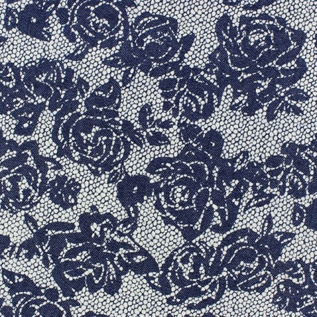 Jeans with flowers openwork fabric x 10cm