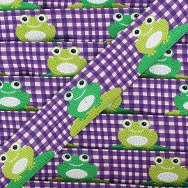 Woven gingham Ribbon, frogs - purple