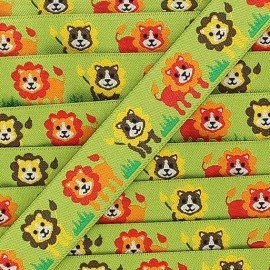 Woven Ribbon, Lion - green
