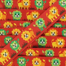 Ruban Lion fond rouge