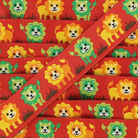 Woven Ribbon, Lion - Red