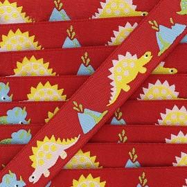 Ruban Dinosaure fond rouge