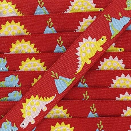 Woven Ribbon, Dinosaur - Red