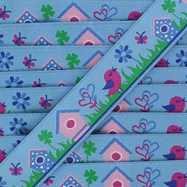 Woven Ribbon, tweet - Blue
