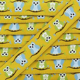 Woven Ribbon, Owl - yellow