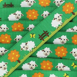Woven Ribbon, sheep - green
