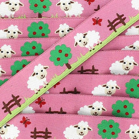 Woven Ribbon, sheep - Pink