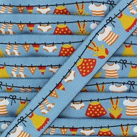 Woven Ribbon, laundry - Blue