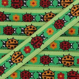 Woven Ribbon, ladybird - green