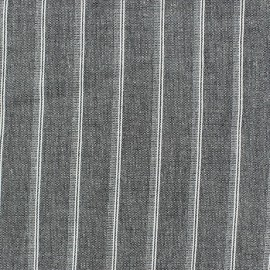 Tissu lin à rayures Wallin Noir x 10cm