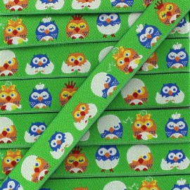 Woven Ribbon, little owl - green