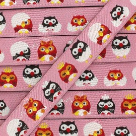Woven Ribbon, little owl - Pink