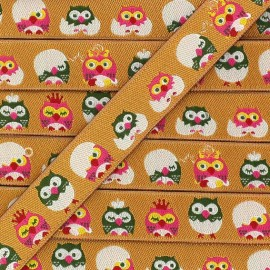 Woven Ribbon, little owl - Orange