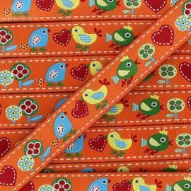Woven Ribbon, Spring Birds - Orange