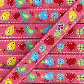 Woven Ribbon, Spring Birds - pink