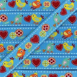 Woven Ribbon, Spring Birds - Blue