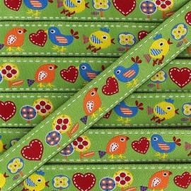 Woven Ribbon, Spring Birds - Green