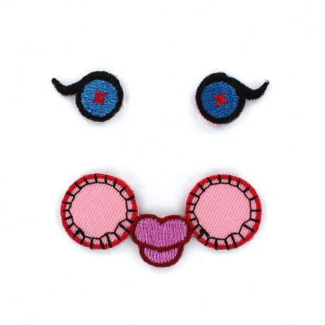 Eyes See You C iron-on applique - pink/blue