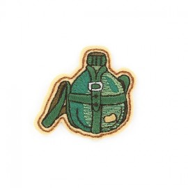 """Hiking """"Flask"""" iron-on applique - green"""